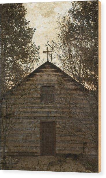 Grungy Hand Hewn Log Chapel Wood Print