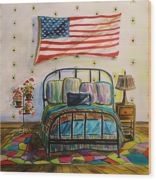 Guest Bedroom Wood Print by John Williams