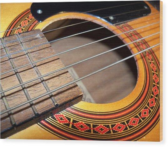 Guitar Portrait Wood Print