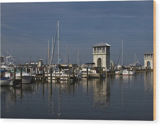 Gulfport Harbor Wood Print by Diane Carlisle