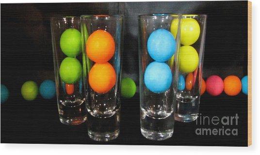 Gumballs In Shot Glasses Wood Print