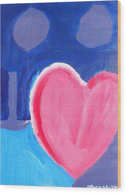 Half Hearted Wood Print