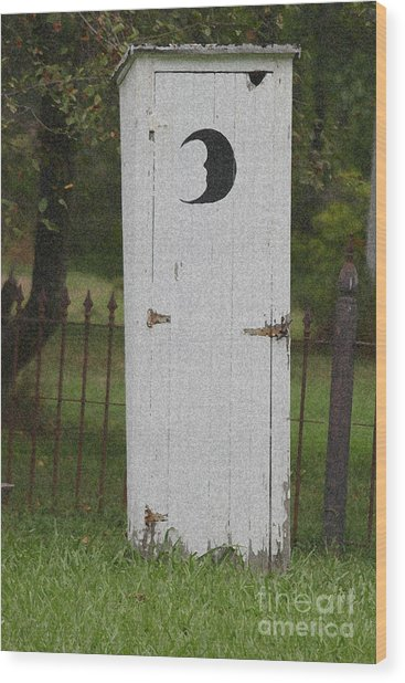 Halloween Outhouse Wood Print by Marilyn West