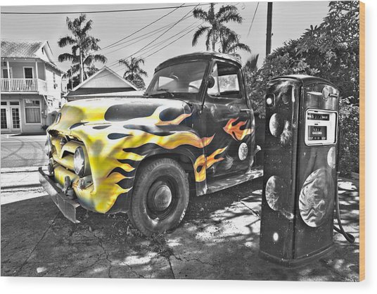 Hanapepe Truck - Yellow Highlights Wood Print