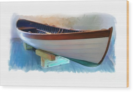 Hand Crafted Boat Painting Wood Print by Earl Jackson