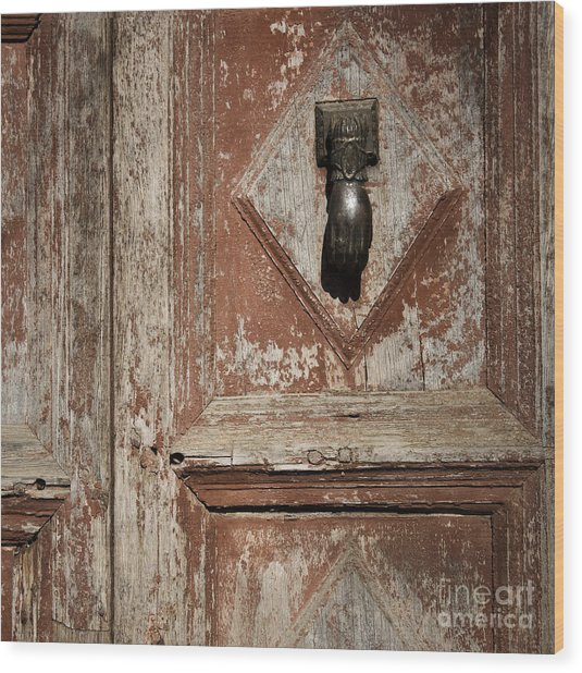 Hand Knocker And Weathered Wooden Doors Wood Print