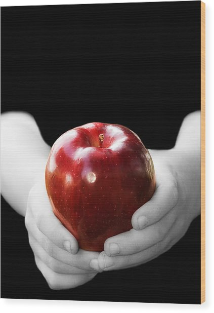 Hands Holding Apple Wood Print by Trudy Wilkerson