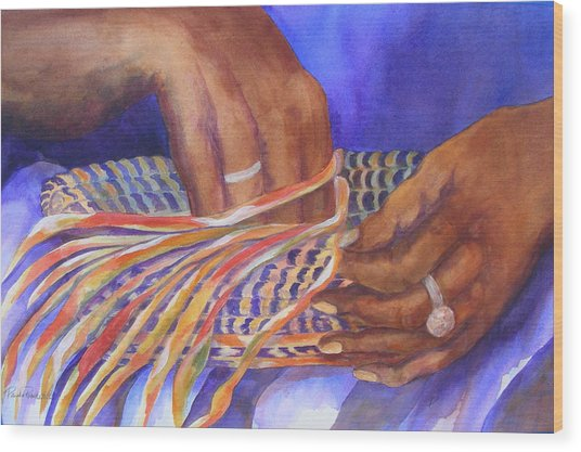 Hands Of The Basket Weaver Wood Print