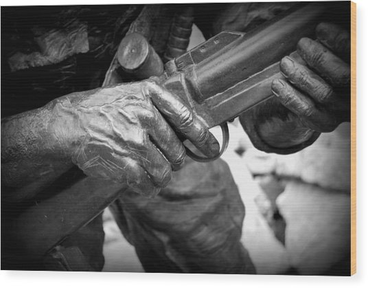 Hands Of War Wood Print