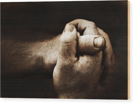 Hands Wood Print by Raymond Potts