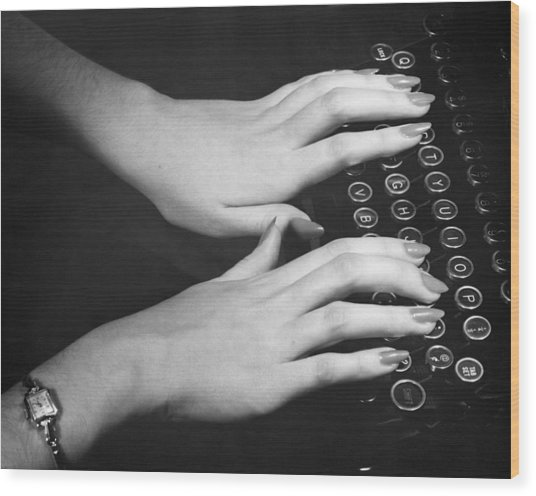 Hands Typing Wood Print by George Marks
