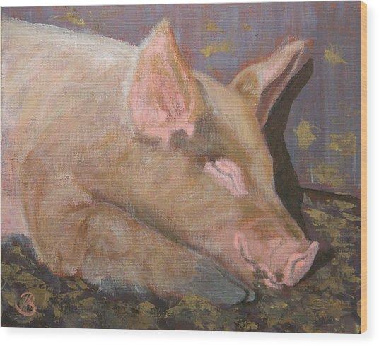 Happy As A Pig Wood Print by Joe Bergholm