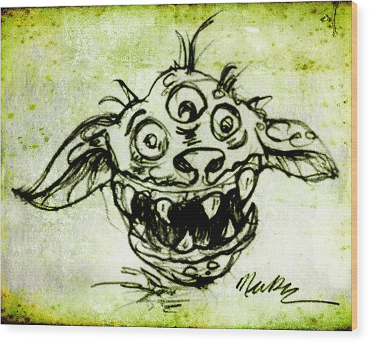 Happy Monster  Wood Print