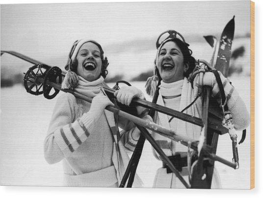 Happy Skiers Wood Print by Fox Photos
