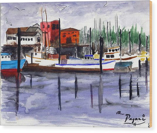Harbor Fishing Boats Wood Print