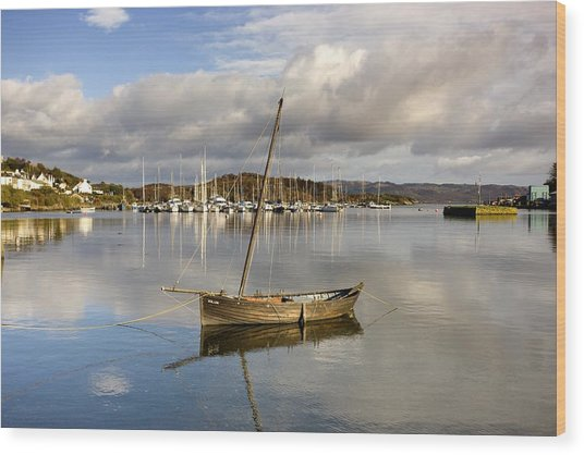 Harbour In Tarbert Scotland, Uk Wood Print