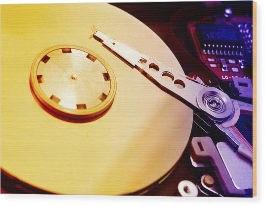Hard Disk Detail Wood Print