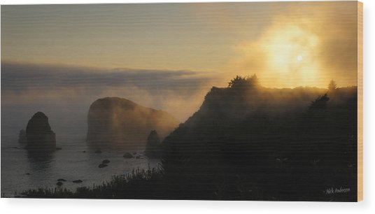 Harris Beach Sunset Panorama Wood Print