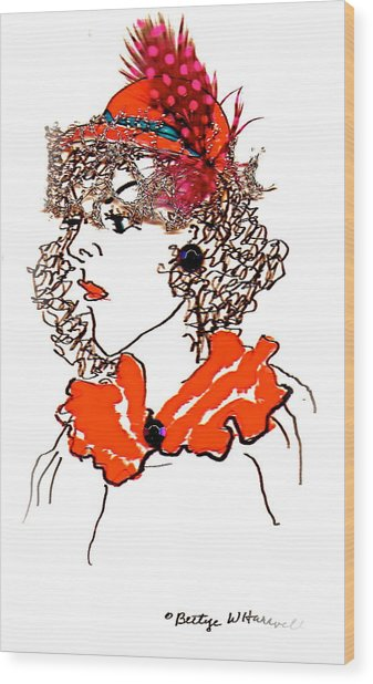 Hat Lady 7 Wood Print by Bettye  Harwell