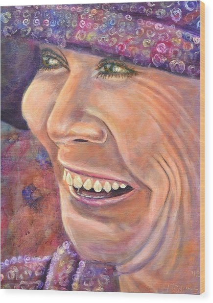 Hat Lady Wood Print by Bob Rowell