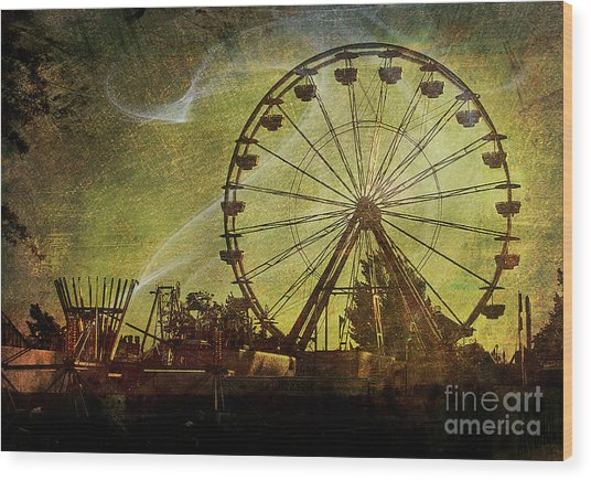 Haunted Midway Wood Print