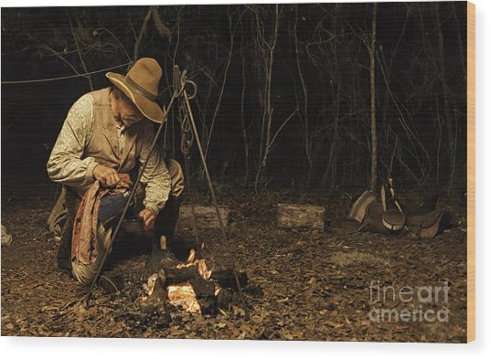 Having Coffee On The Range Wood Print