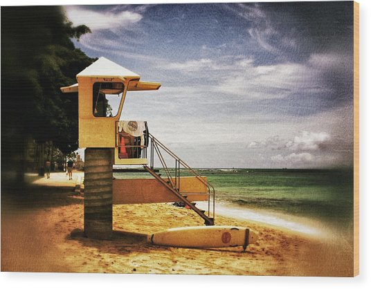 Hawaii Lifeguard Tower 2 Wood Print