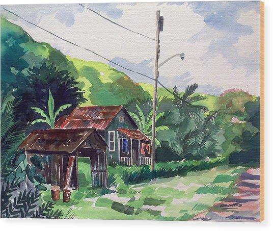 Hawaiian Home Wood Print by Jon Shepodd