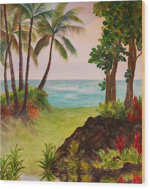 Hawaiian Oceanside Wood Print