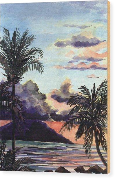 Hawaiian Sunset Wood Print by Jon Shepodd