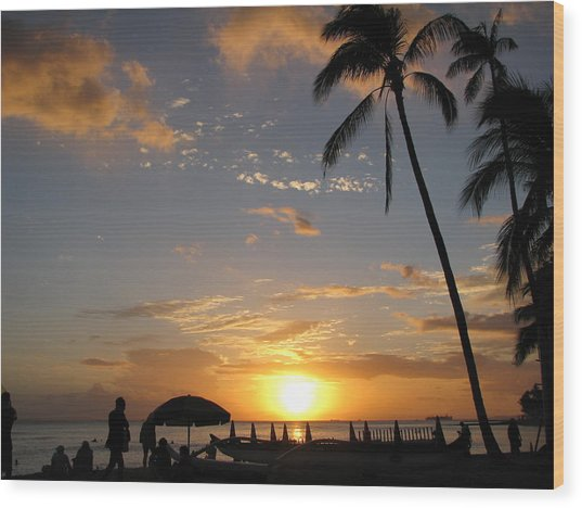 Hawaiian Sunset Wood Print by Yula Sander