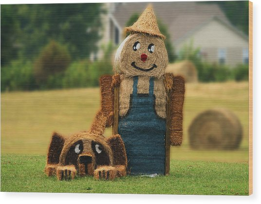 Hay Bale Farmer And Dog  Wood Print
