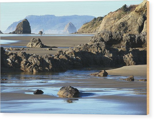 Haystack Rock From Arcadia Beach Wood Print