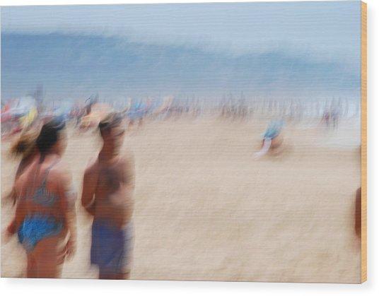 Haze On The Beach Wood Print by Perry Van Munster