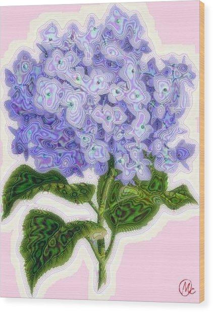 Hazy Hydrangea Wood Print