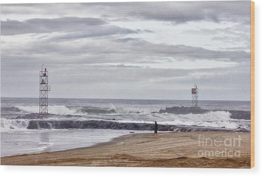 Hdr Two Light Towers Beach Beaches Ocean Sea Seaview Oceanview Photos Pictures Photography Photo Pic Wood Print by Pictures HDR