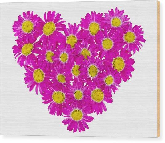 Heart From  Pink Daisies Wood Print by Aleksandr Volkov