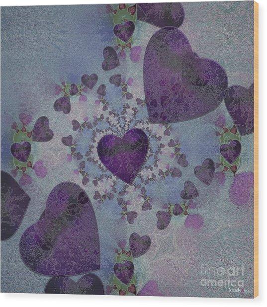 Heart Mix Blue Wood Print