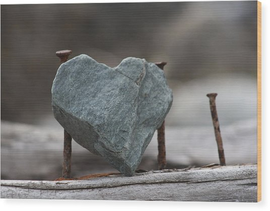 Heart Of Stone Wood Print