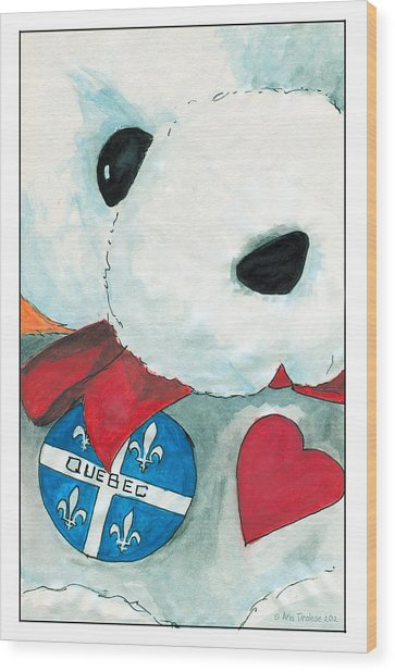 Heart Quebec Bear Wood Print