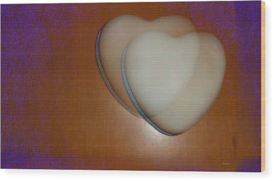 Hearts-marble Wood Print by Ines Garay-Colomba