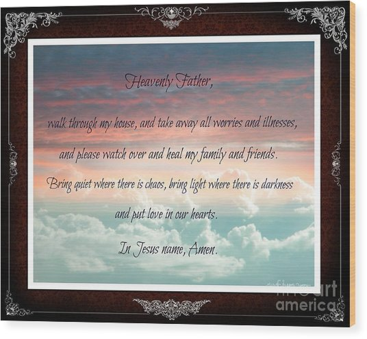 Heavenly Father Prayer Wood Print