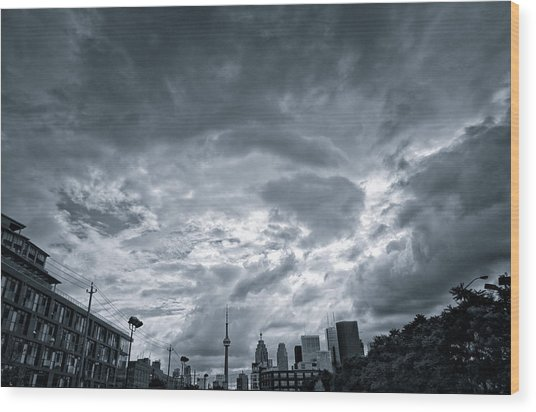 Heavy Sky Wood Print by Luba Citrin
