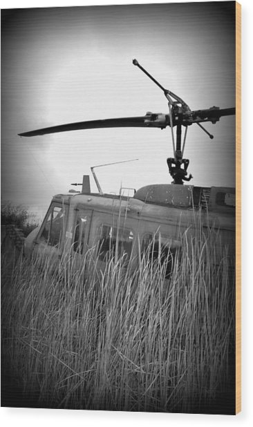 Helicopter Of War Wood Print