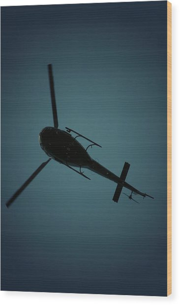 Helicopter Silhouette Wood Print