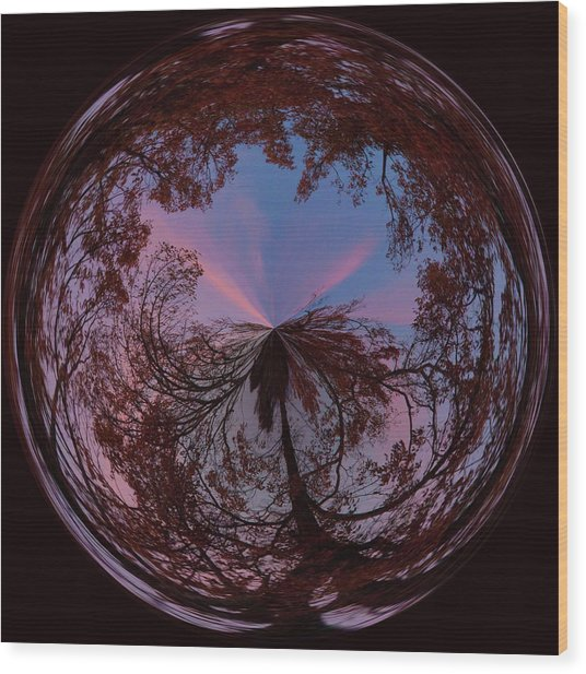 Hendersonville Sunset Orb Wood Print