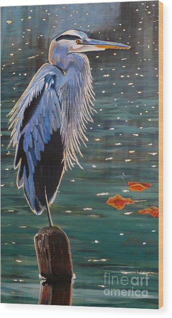 Heron In Blue Wood Print