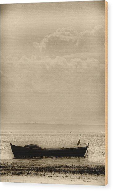 Heron On The Boat Wood Print