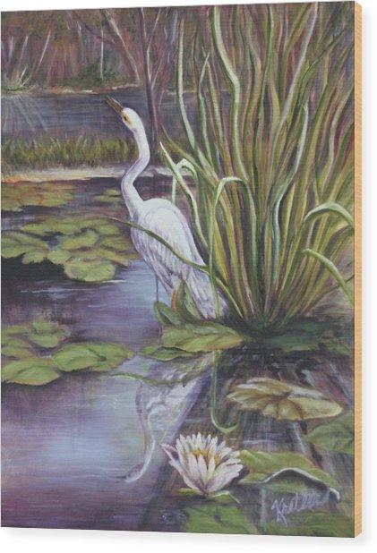 Heron Standing Watch Wood Print