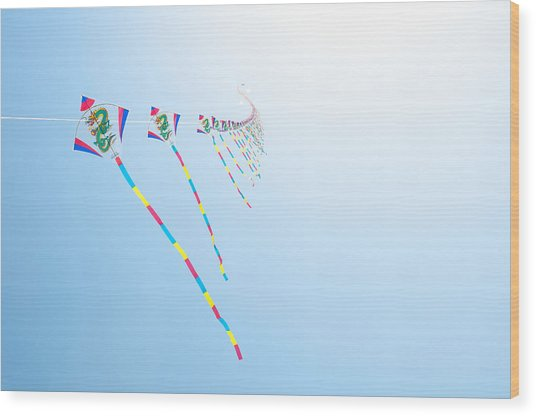 High Flying Kites Wood Print by Flash Parker